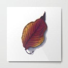 Cherry Leaf Watercolor Metal Print
