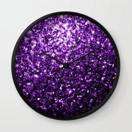 Beautiful Dark Purple glitter sparkles Wall Clock
