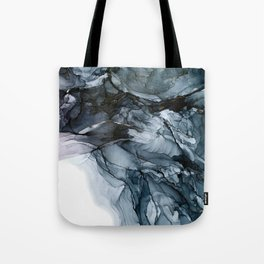Dark Payne's Grey Flowing Abstract Painting Tote Bag
