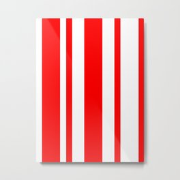 Mixed Vertical Stripes - White and Red Metal Print