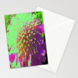 Abstract Pincushion Flower in Lime Green and Purple Stationery Cards