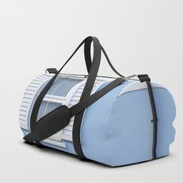 White on blue Duffle Bag