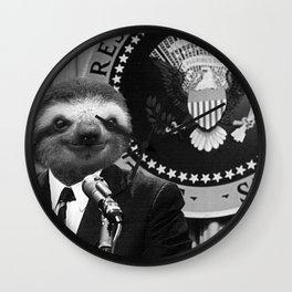 Sloth as President of America Wall Clock