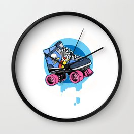 Funny Womens Roller Skater Gift Product Roller Derby Design Wall Clock