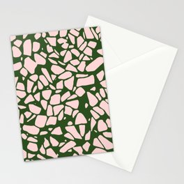 Stone Pattern - Salmon Pink & Olive Green Stationery Cards
