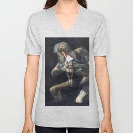Francisco de Goya - Saturn Devouring His Son 1823 Artwork for Wall Art, Prints, Posters, Tshirts, Men, Women, Youth Unisex V-Neck