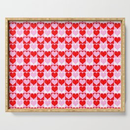 Love Heart Red Pink and White Check Pattern Serving Tray