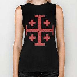 Crusader Cross Of Jerusalem | Renaissance Festival Design Biker Tank
