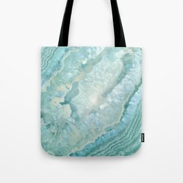 """Aquamarine Pastel and Teal Agate Crystal"" Tote Bag"