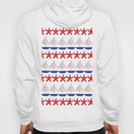 Nautical Pattern Small Sailboats and Starfishes Hoody