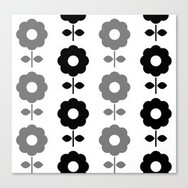 Floral Seamless Pattern with Black and White Flowers Canvas Print