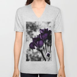 Purple Flowers Pop Of Color Unisex V-Neck