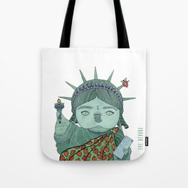 Liberty Owl White Tote Bag