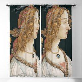 """Sandro Botticelli """"Idealized Portrait of a Lady (Portrait of Simonetta Vespucci as Nymph)"""" Blackout Curtain"""