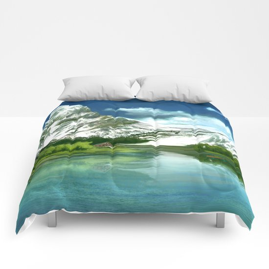 Mountain and lake landscape Comforters