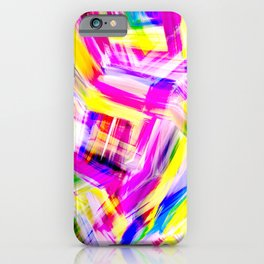 Neon Pink Yellow Brushstroke Explosion Art iPhone Case