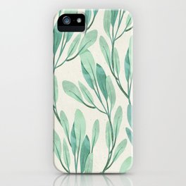 Mint Green Leaves Pattern Magical Mystical Style iPhone Case