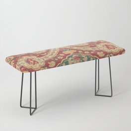 Peonies Kashan I // 16th Century Distressed Colorful Red Tan Light Blue Ornate Accent Rug Pattern Bench