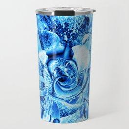 Blue and Turquoise Ice Rose Travel Mug