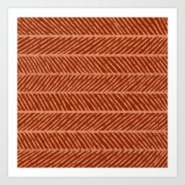 Herringbone Rust and Peach Art Print
