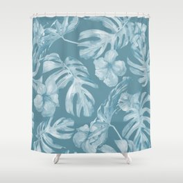 Tropical Escape Teal Blue Leaves + Hibiscus Shower Curtain