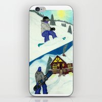 snowboarding iPhone & iPod Skins featuring Snowboarding ; Putting In Your Eight Hours by N_T_STEELART