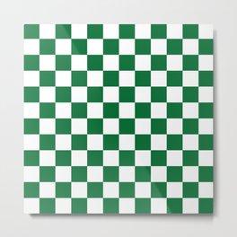 Checkered (Dark Green & White Pattern) Metal Print