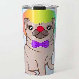 Pug dog in a clown costume Travel Mug