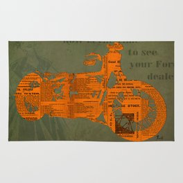 Orange and green abstract motorcycle, man cave decoration, gift for him Rug