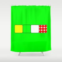 tour de france Shower Curtains featuring Tour de France Jerseys 2 Green by The Learning Curve Photography