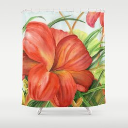 Red Floral Watercolor Giclee art print Chicago Botanic Garden Flowers Shower Curtain