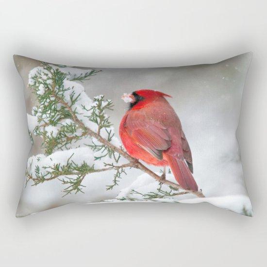 Snow on His Face (Northern Cardinal) Rectangular Pillow