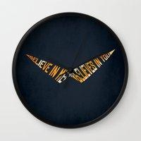 gurren lagann Wall Clocks featuring Believe In Me Who Believes In You by 5eth