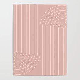 Minimal Line Curvature - Vintage Pink Poster