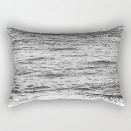 Black & White Ocean Wave Photography Rectangular Pillow