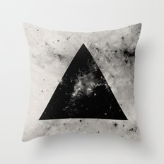 Triangular Universe - Abstract, geometric black and white space painting Throw Pillow