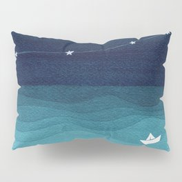 Garlands of stars, watercolor teal ocean Pillow Sham