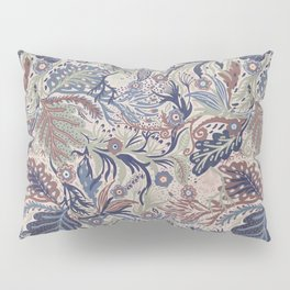 Muted Colors Flower Field, Soft Moss Green Leaves &  Intricate Petrol Blue Floral Blooms Pattern Pillow Sham