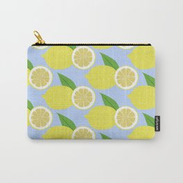 Lemon fruits on blue Carry-All Pouch