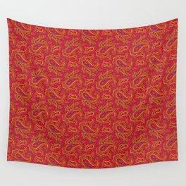 Ramona Paisley - Hot Coral Wall Tapestry