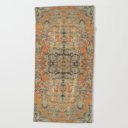 Vintage Woven Coral and Blue Beach Towel