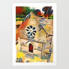 Bourton on the Water Miniature Building Art Print