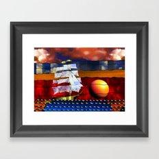 Doodlage 04 - Lets sail away Framed Art Print