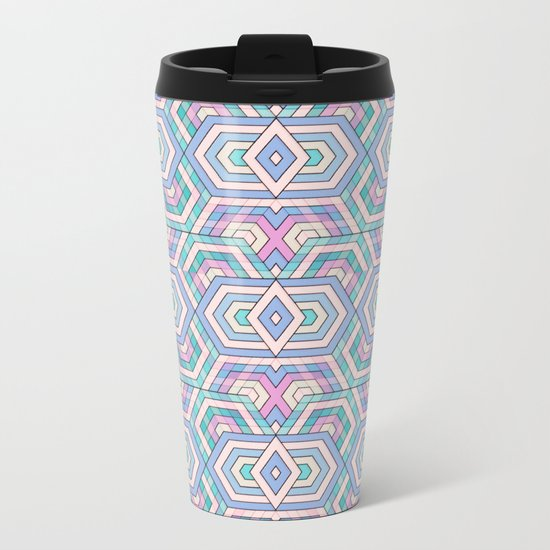 Geo Pattern Metal Travel Mug