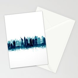 New York Cit Skyline Blue Watercolor by Zouzounio Art Stationery Cards