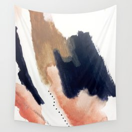 Drift Away [2] - a mixed media abstract piece in pink, brown, and purple Wall Tapestry