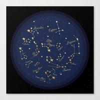 constellations Canvas Prints featuring Constellations by Cina Catteau