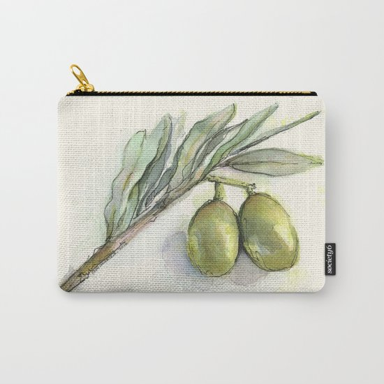 Olive Branch | Green Olives | Watercolor Illustration Carry-All Pouch