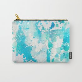 Hand painted aqua teal white watercolor splatters Carry-All Pouch