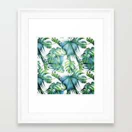 Blue Jungle Leaves, Monstera, Palm #society6 Framed Art Print